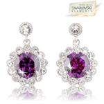 Picture of Violet flower-drop pierced earrings with Swarovski Element