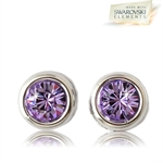 Picture of Lavender crystal pierced earrings with Swarovski Element