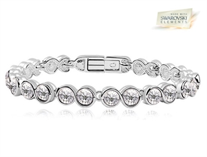 70024283e4aa5b AthenaFashion. 18K White Gold Overlay Tennis Bracelet with Clear ...