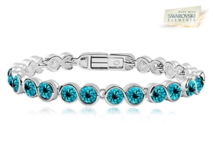 5bbf90c780bdab Picture of 18K White Gold Overlay Tennis Bracelet with Turquoise SWAROVSKI  Elments
